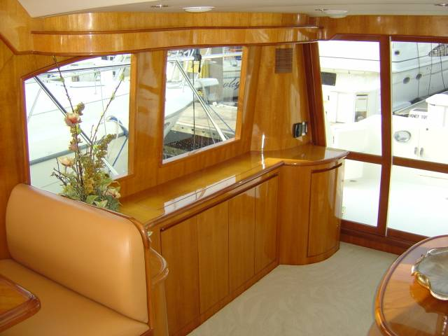 42 Sedan by Ocean Alexander Starboard Salon Aft Starboard Salon Looking Aft