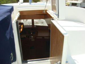45' Symbol Pilothouse Trawler  Flybridge Pilothuse Access