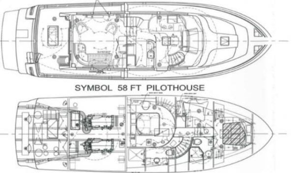 58 Symbol Raised Pilothouse Layout