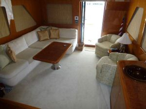 Ocean Alexander 64 Salon Looking Aft - New Carpet