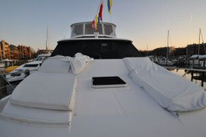 68' Symbol Pilothouse Motoryacht Bow Deck with Lounge Pads